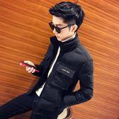 棉質外套 冬天刺繡字母立領修身短款男棉衣社會精神小伙個性棉襖帥氣潮外套