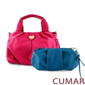 CUMAR  輕量尼龍愛心logo手提斜背包-粉色(贈藍小包)