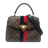 【台中米蘭站】全新品 Louis Vuitton GEORGES MM 帆布簇絨雙條紋手提/肩背二用包 (M43778)