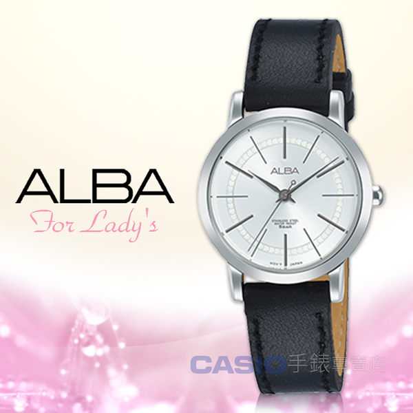 ALBA 雅柏 手錶專賣店 國隆 AH8421X1 石英女錶 皮革錶帶 黑 防水50米 全新品 保固一年 開發票