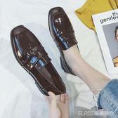 單鞋英倫風百搭小皮鞋女粗跟軟妹原宿漆皮鞋子    琉璃美衣