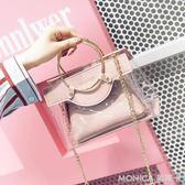透明包包女韓國 百搭果凍包鏈條包單肩斜背包 麻吉好貨