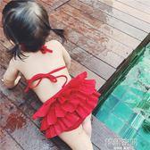 女寶寶泳衣夏裝嬰幼兒性感兒童比基尼裙式女童游泳兩件套裝 韓語空間