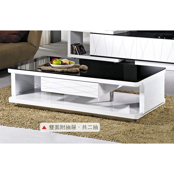 【森可家居】晶格白色鋼烤大茶几 8HY290-03 黑白 質感歐風