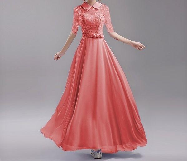 (45 Design) 專業訂製 甜美修身 蕾絲中長袖歐美新娘婚紗禮服