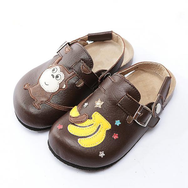 【Jingle】猴子摘香蕉前包後空軟木休閒鞋(質感咖百搭米經典藍兒童款)