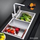 加厚手工水槽雙槽304不銹鋼廚房洗菜盆tz6011【歐爸生活館】