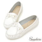 訂製鞋 MIT蝶結車縫白真皮底莫卡辛鞋-艾莉莎ALISA【24618853】白色下單區