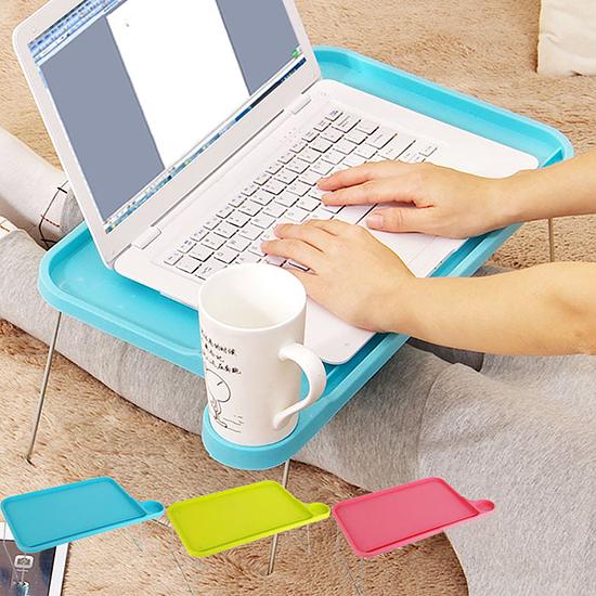 摺疊電腦桌 懶人桌 電腦桌 床上桌 杯架 露營 置物架 和室桌 糖果色 折疊桌【W030】生活家精品