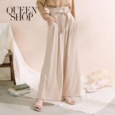 Queen Shop【04110287】附綁帶花苞腰西裝寬褲 兩色售 S/M/L*現+預*
