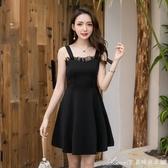 洋裝 春夏新款韓版時尚宴會黑色顯瘦聚會派對小洋裝名媛吊帶洋裝 艾美時尚衣櫥