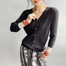 羊毛針織衫 V領針織開衫 內搭休閒針織上衣-夢想家-0917