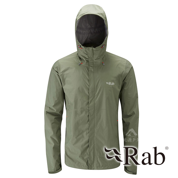 【RAB 英國】DOWNPOUR 男 超輕量防風防水外套『田野綠』QWF61 雨衣 夾克