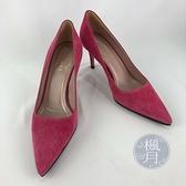 BRAND楓月 GUCCI 古馳 桃紅色 粉紅色 麂皮 鞋跟細馬銜釦裝飾 尖頭 高跟鞋 #35