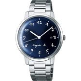 agnes b. 簡約時尚手寫時標手錶-藍x銀/37mm VJ32-KZD0B(BG8006X1)