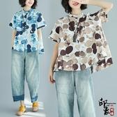 加肥大尺碼女波點半袖上衣潮文藝印花立領棉麻短袖襯衫 週年慶降價