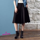 【SHOWCASE】簡約剪裁顯廋七分寬褲裙(黑)