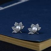 925純銀耳環-珍珠簡約楓葉做舊情人節生日禮物女飾品73uv50[時尚巴黎]