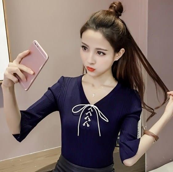 EASON SHOP(GU6408)胸前交叉綁帶繫帶綁帶短袖針織衫五分袖喇叭袖彈力貼身內搭衫女上衣服素色韓版