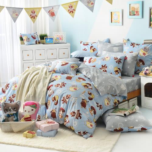 義大利Fancy Belle X DreamfulCat《愛麗絲茶會-藍》特大四件式防蹣抗菌舖棉兩用被床包組