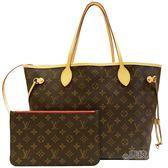【Louis Vuitton 路易威登】M41177 經典花紋 Neverfull MM子母包(紅)