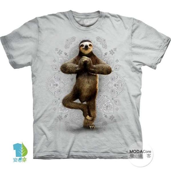 摩達客-(預購)(大尺碼3XL)美國進口The Mountain 功夫樹懶灰白底 純棉環保藝術中性短袖T恤