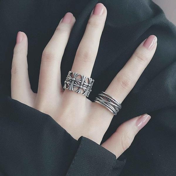 歐美ins復古戒指女日韓簡約潮流十字架朋克個性男女士開口食指戒 【雙十一下殺】
