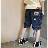 男童牛仔褲 兒童牛仔短褲男童牛仔褲夏薄款夏季七分褲男深藍色軟寬鬆七分潮牌【快速出貨】