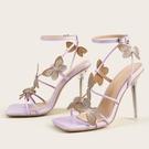 歐美新款蝴蝶結一字帶水晶跟高跟大碼涼鞋女 夜店舞臺表演高跟鞋