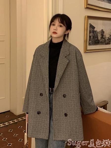 西裝外套 復古格子西裝外套女秋冬百搭年新款韓版英倫風寬鬆秋季小西服 suger