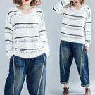 條紋V領毛衣 韓版大尺碼加肥 洋氣馬海毛針織上衣 胖mm長袖毛線衣減齡 降價兩天