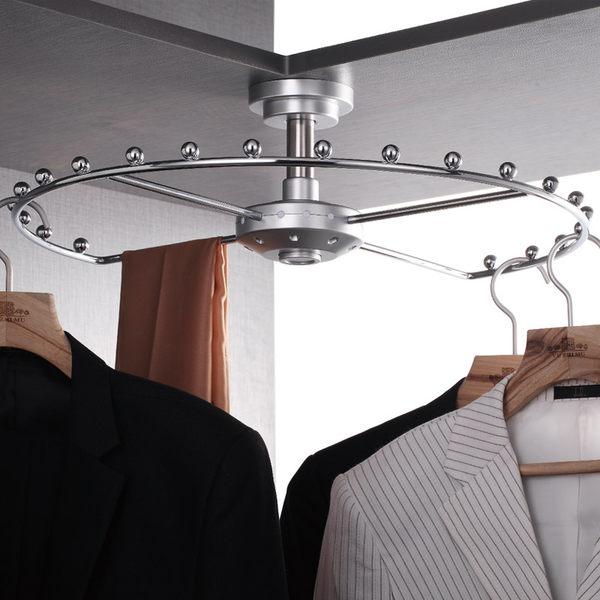 聖誕交換禮物 衣架衣櫃拉籃衣帽間90度轉角頂裝高櫃旋轉不鏽鋼衣架xw