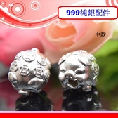 銀鏡DIY S999純銀材料配件/3D硬銀可愛Q版招財金錢豬.銅錢造型生肖豬穿式墜(中款)~適合手作串珠