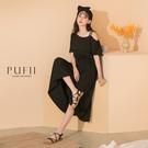 PUFII-洋裝 單邊雙肩帶鬆緊縮腰洋裝...