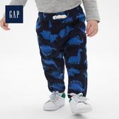 Gap男嬰兒舒適條紋抓絨抽繩長褲473846-海軍藍色