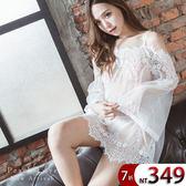 睡衣 性感睫毛蕾絲垂肩睡衣-睡裙+內褲(三色:白、黑、粉)-性感、情趣、居家服_蜜桃洋房
