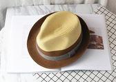 草帽男太陽帽夏季戶外涼帽休閒帽子爵士帽禮帽防曬沙灘帽潮【快速出貨】