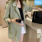 【V3429】shiny藍格子-休閑氣質.時尚條紋長袖薄款外套