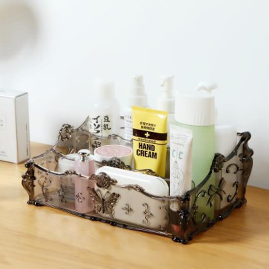 ✭米菈生活館✭【P63】雕花多格收納盒 梳妝台 透明 化妝品 收納 桌面 塑料 護膚品 整理盒