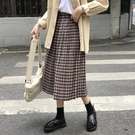 格子百褶A字裙2018新款冬季女韓版百搭高腰顯瘦中長款過膝半身裙
