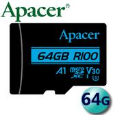 Apacer 宇瞻 64GB 64G 100MB/s microSDXC TF A1 U3 V30 記憶卡