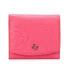 CLATHAS山茶花壓印荔枝紋軟皮壓釦零錢袋短夾(粉紅色)200121-32