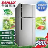 ★贈法國餐盤五件組 SANLUX台灣三洋 冰箱 580L直流變頻雙門冰箱 SR-C580BV1
