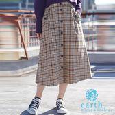 ❖ Winter ❖ 前排釦復古感素面/格紋ALINE長裙 - earth music&ecology