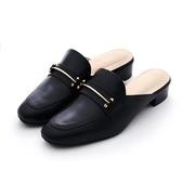 MICHELLE PARK 格調 ‧ 方頭金屬條飾低跟穆勒鞋-黑