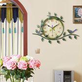 復古田園創意靜音時鐘 美式鄉村客廳臥室歐式簡約藝術掛錶掛鐘【狂歡萬聖節】