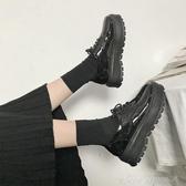 英倫風女鞋春復古厚底單鞋高跟漆皮繫帶百搭鬆糕軟妹小皮鞋女 交換禮物