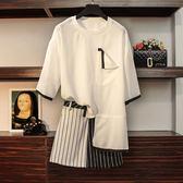 大碼女裝 胖mm短褲 條紋上衣兩件套 東京衣櫃