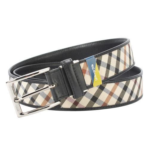 DAKS經典斜格紋穿式皮帶(黑色)239208