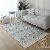 地毯墊客廳北歐毛毯亞麻編織家用床邊臥室~少女顏究院~